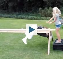 Girl falling from balance beam