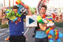 Mark Rober and Matt Winaker with carnival prizes