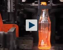 Red hot glass Coke bottle