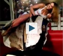 Girls on a mechanical bull