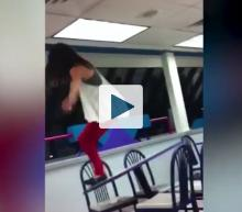 Girl falling from table