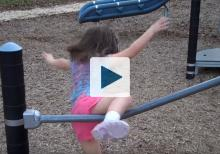 Girl falling from railing