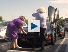 Grannies looking for the trunk latch on a Lamborghini