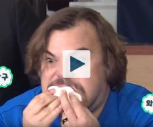 Jack Black with a mouthful of marshmallows