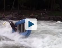 River raft flipping over