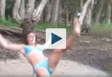Woman falling from swing