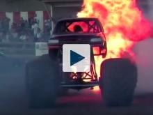 Monster truck on fire