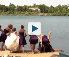 Bridesmaid falling